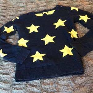 Gap star sweater 7 8 navy yellow knit